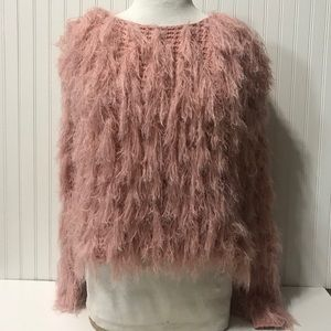 Misguided fluffy rose pink sweater